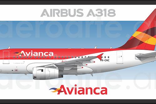 Adesivo Perfil Airbus A318 Avianca