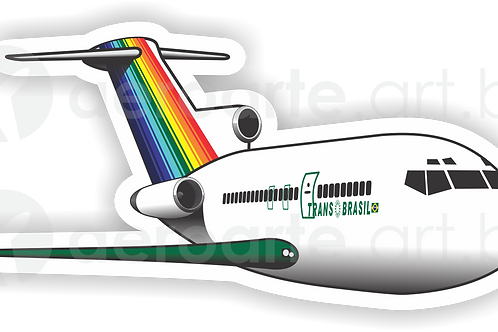Adesivo Silhueta Boeing 727 Transbrasil Verde