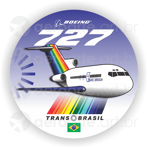 Adesivo Bolacha Boeing 727 Transbrasil Azul