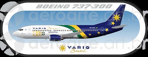 Adesivo Perfil Boeing 737-300 VARIG Seleção 1998