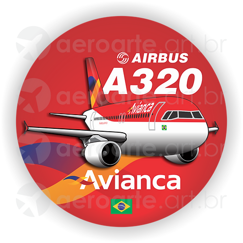 Adesivo Bolacha Airbus A320 CFM Avianca Brasil old colors