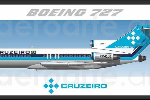 Adesivo Perfil Boeing 727-100 Cruzeiro