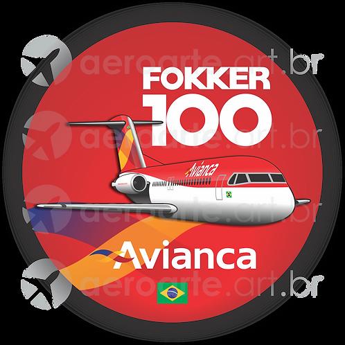 Adesivo Bolacha Fokker 100 Avianca Brasil