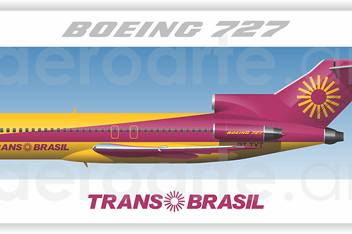 Adesivo Perfil Boeing 727-100 Transbrasil Vinho / Amarelo