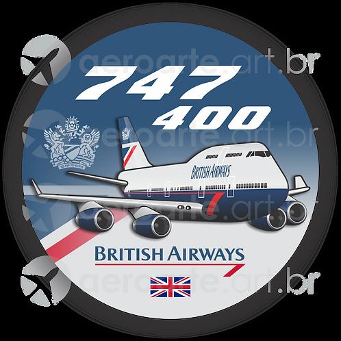 Adesivo Bolacha Boeing 747-400 BRITISH AIRWAYS - LANDOR