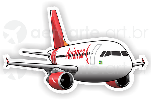 Adesivo Silhueta Airbus A319 CFM Avianca Brasil new colors