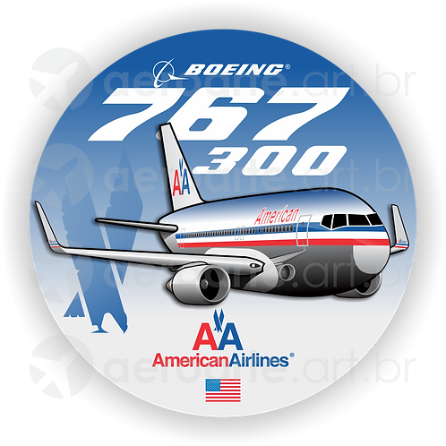 Adesivo Bolacha Boeing 767-300 American Airlines