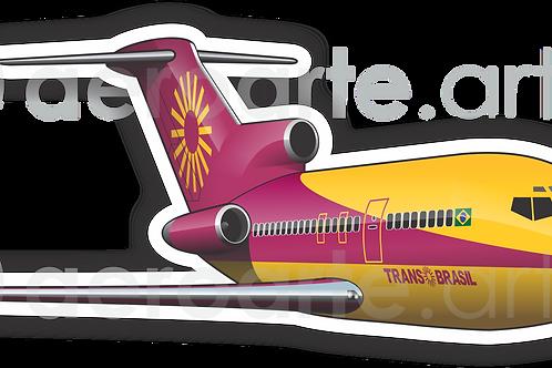 Adesivo Silhueta Boeing 727 Transbrasil Vinho / Amarelo