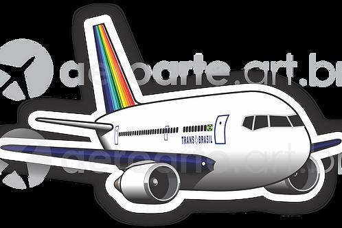 Adesivo Silhueta Boeing 767 Transbrasil Azul