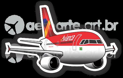 Adesivo Silhueta Airbus A319 CFM Avianca Brasil old colors