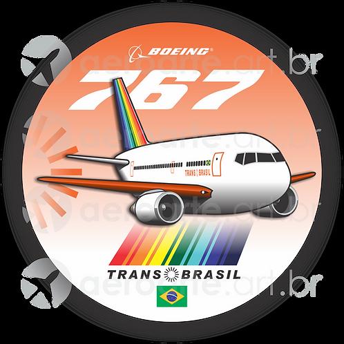 Adesivo Bolacha Boeing 767 Transbrasil Laranja