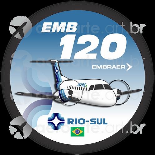 Adesivo Bolacha Embraer EMB-120 Brasília Rio-Sul