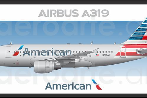 Adesivo Perfil Airbus A319 AMERICAN