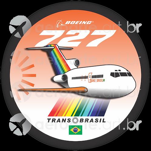 Adesivo Bolacha Boeing 727 Transbrasil Laranja