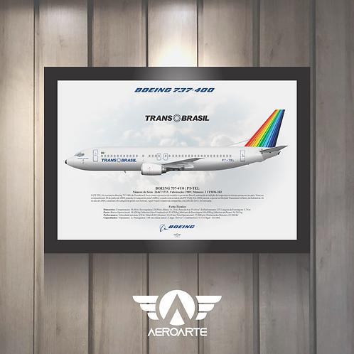 Pôster Perfil Boeing 737-400 TRANSBRASIL