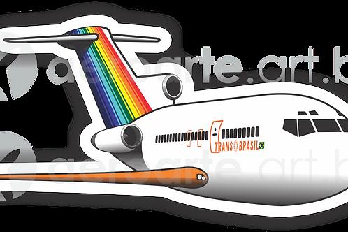 Adesivo Silhueta Boeing 727 Transbrasil Laranja