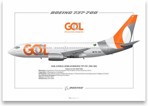 Pôster Perfil Boeing 737-700 GOL