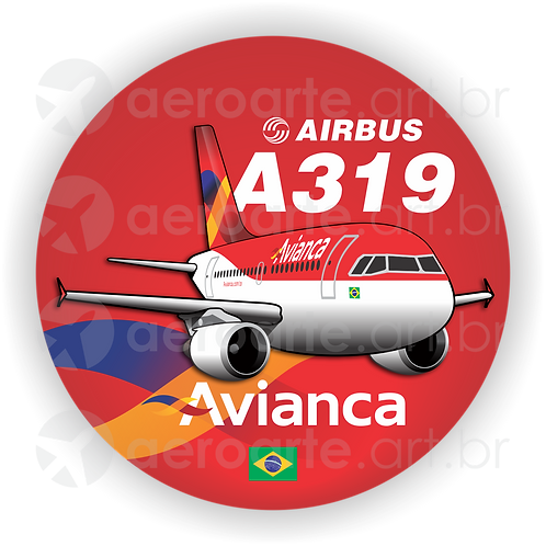 Adesivo Bolacha Airbus A319 CFM Avianca Brasil old colors