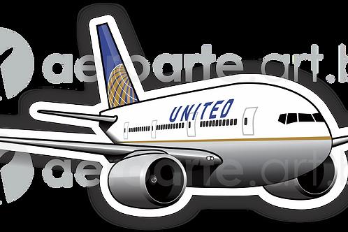 Adesivo Silhueta Boeing 777 United 3ª Pintura
