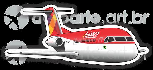 Adesivo Silhueta Fokker 100 Avianca Brasil
