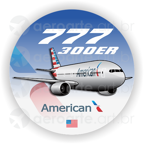 Adesivo Bolacha Boeing 777-300ER AMERICAN