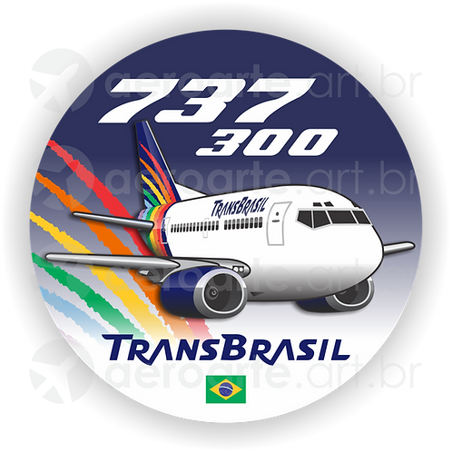 Adesivo Bolacha Boeing 737-300 Transbrasil 4ª Pintura