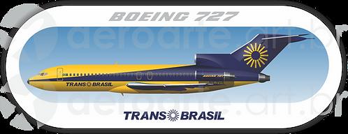 Adesivo Perfil Boeing 727-100 Transbrasil Azul / Amarelo