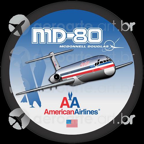 Adesivo Bolacha McDonnell Douglas MD-80 American Airlines