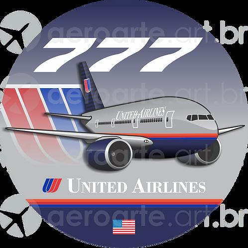 Adesivo Bolacha Boeing 777 United 1ª Pintura
