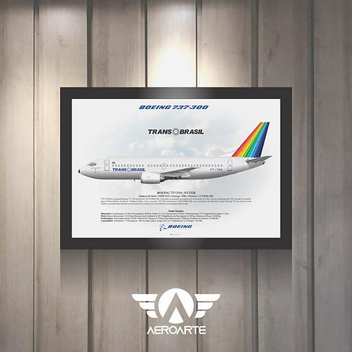 Pôster Perfil Boeing 737-300 TRANSBRASIL