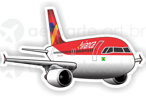 Adesivo Silhueta Airbus A320 CFM Avianca Brasil old colors