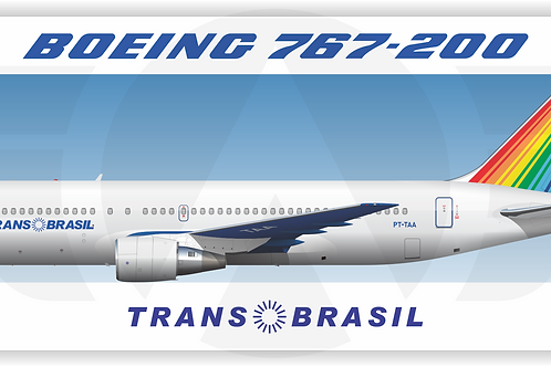 Adesivo Perfil Boeing 767-200 TRANSBRASIL Azul