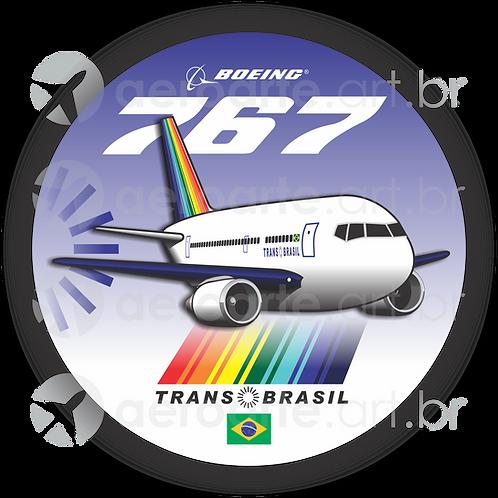 Adesivo Bolacha Boeing 767 Transbrasil 1ª Pintura