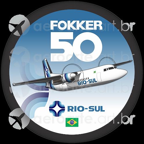 Adesivo Bolacha Fokker 50 Rio-Sul