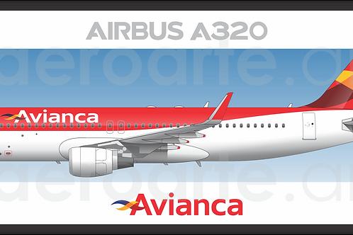 Adesivo Perfil Airbus A320 CFM Avianca Brasil 1ª Pintura