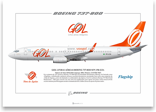 "Pôster Perfil Boeing 737-800 GOL ""Flagship"""