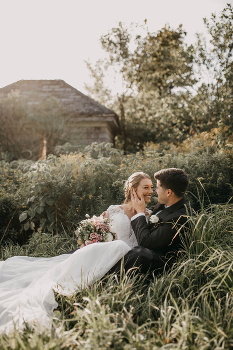 Wedding shoot in the long grass