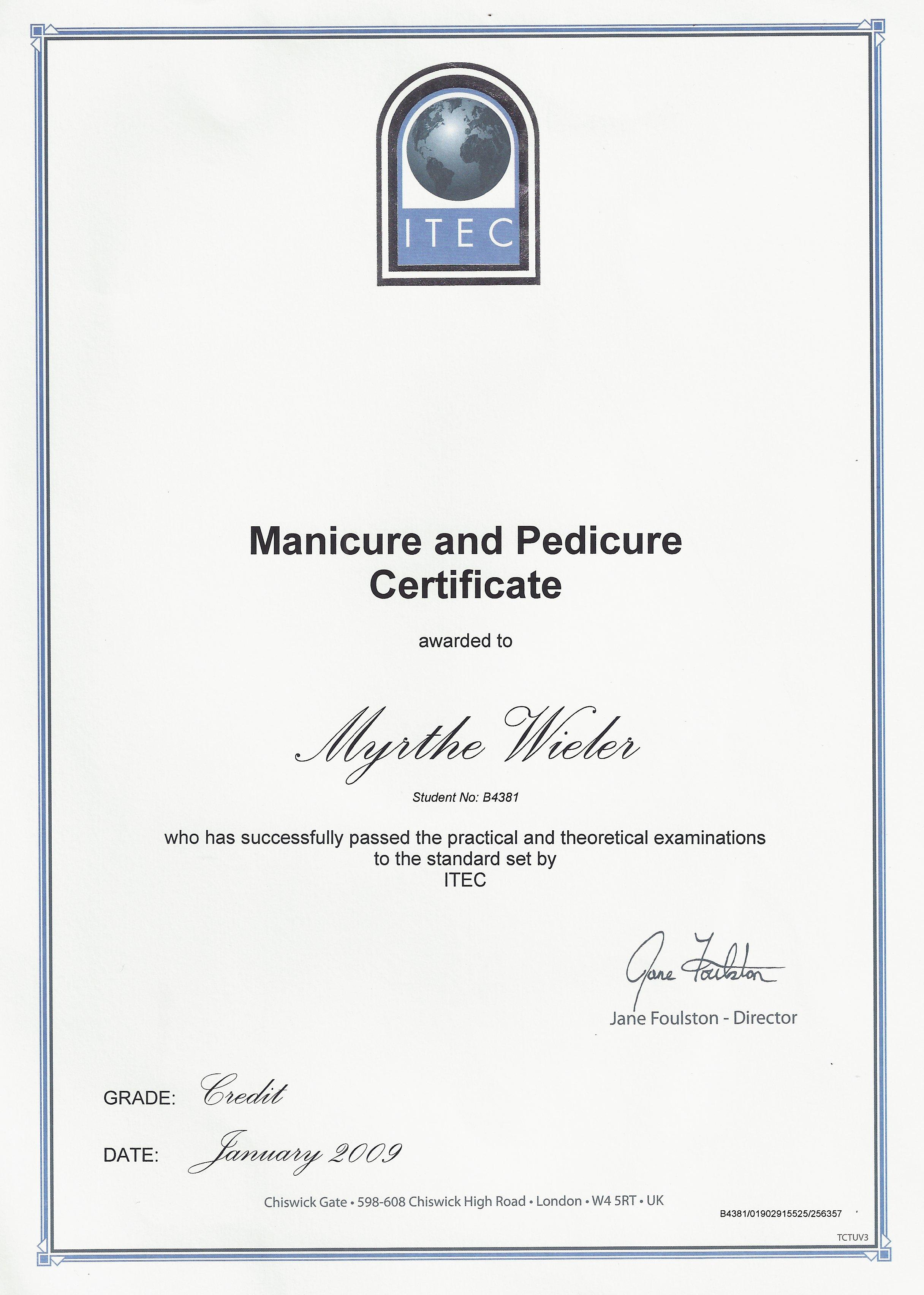 Cert Manicure _ Pedicure
