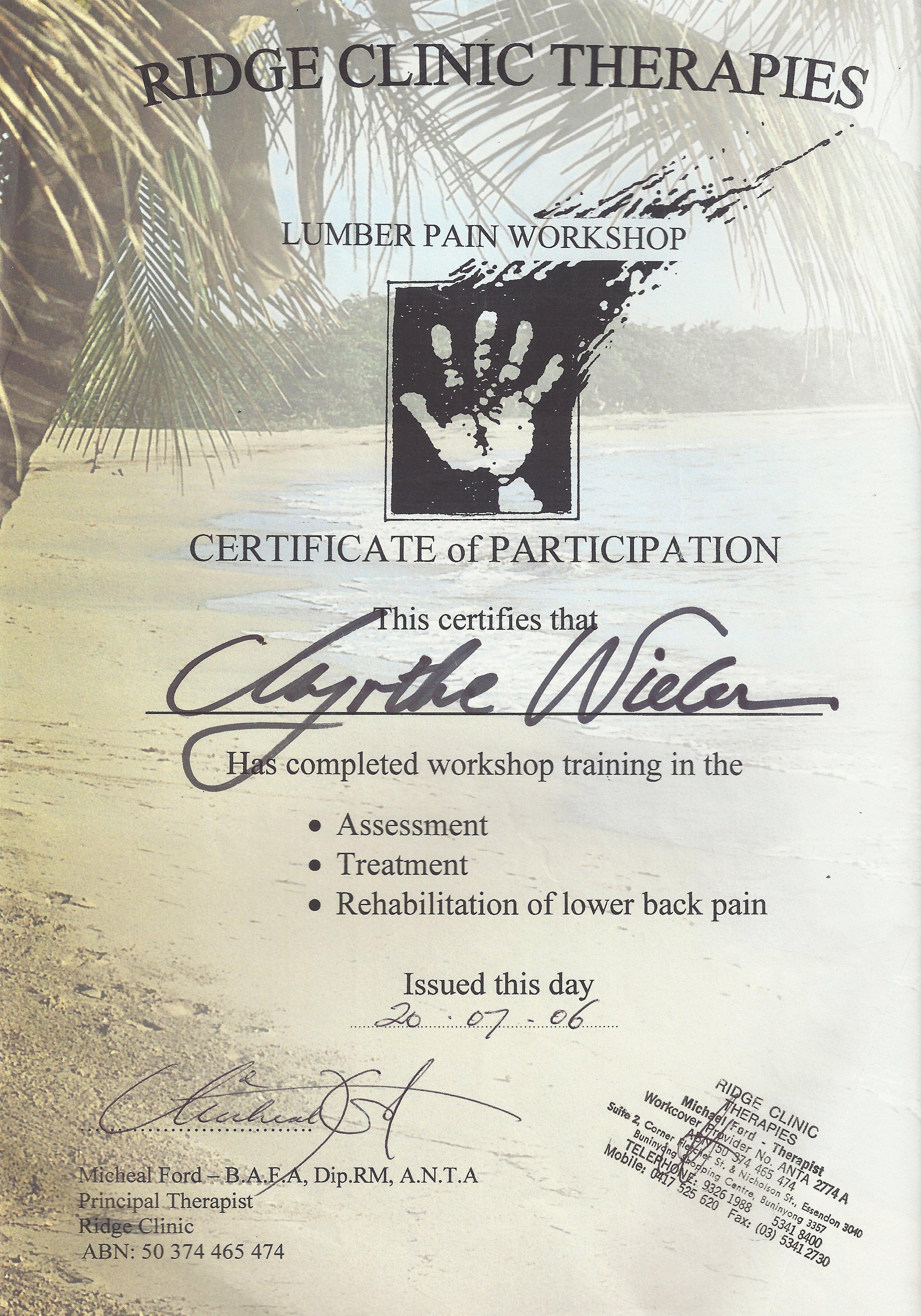 Cert Lumbar Massage