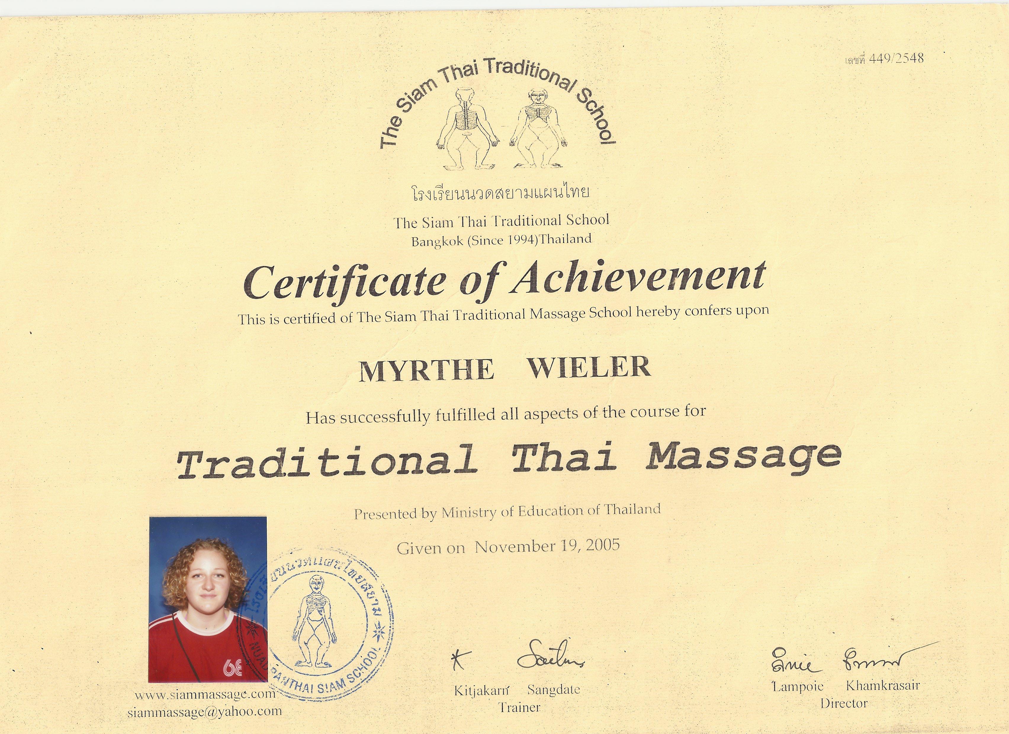 Cert Thai Massage