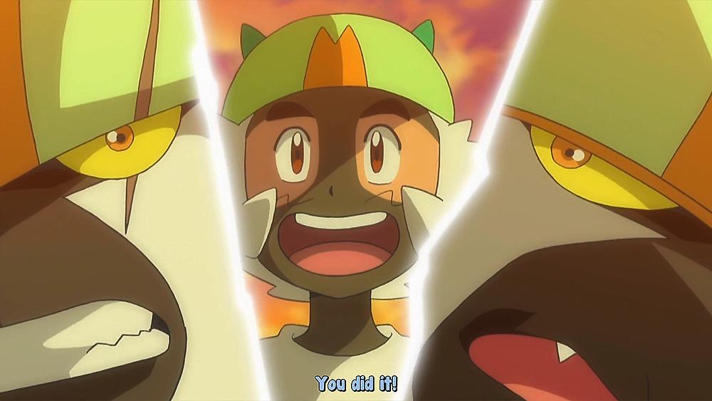 Pokemon Sun And Moon Episode 64 Satoshi And Nagetsukesaru Touchdown Of Friendship