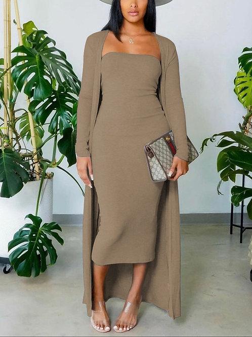 Sheek Two Piece Dress and Coat Beige, S, M, L, XL