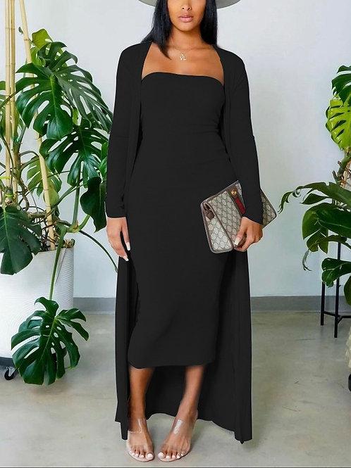 Sheek Two Piece Dress and Coat Black, S, M, L, XL