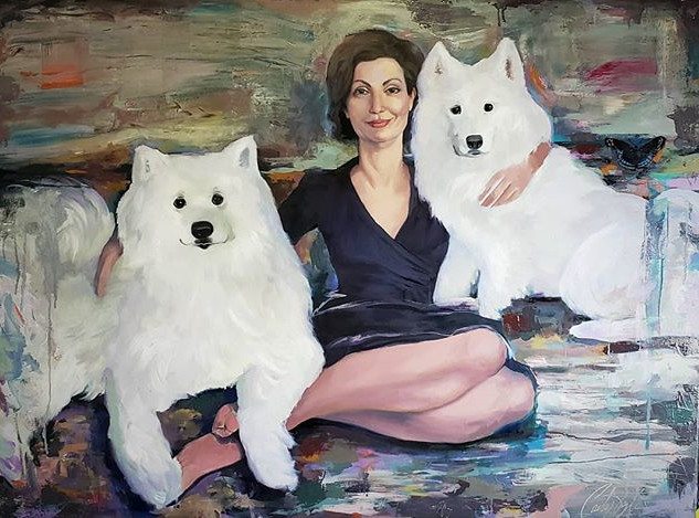 Sylvia and the puppies