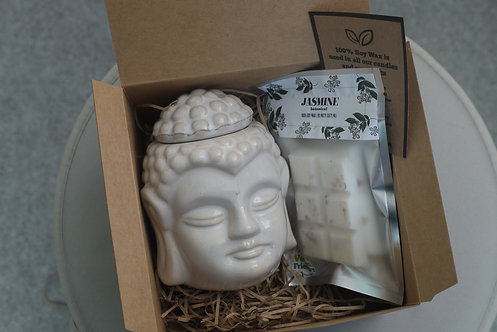 White Crackle Glaze Thai Buddha - Ceramic Wax Burner + 1 Melt(of your choice)