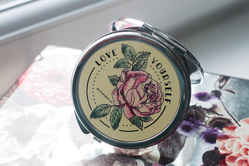 "Rose / Botanical - ""Love Yourself"" Compact Mirror"