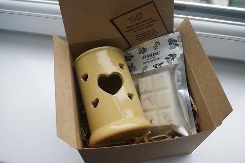 Yellow - Tall Tart Heart Ceramic Wax Burner + 1 Melt (of your choice) Gift Set