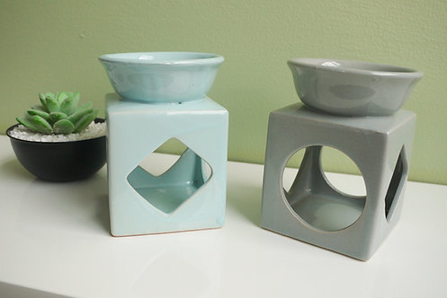 Large Cube with Cut Out shapes - Ceramic Wax / Oil Burner