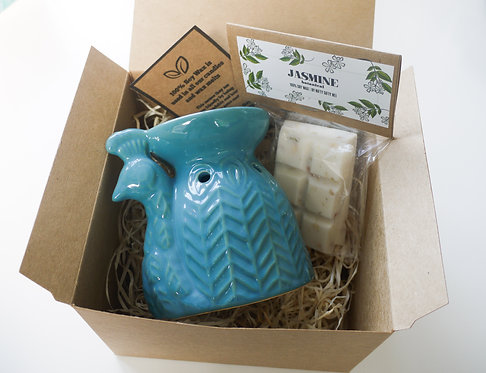 Teal Ceramic Peacock Wax Burner + Wax Melt (of your choice) - Gift Set