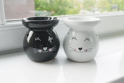 Large Round Cat Ceramic Wax / Oil Burner